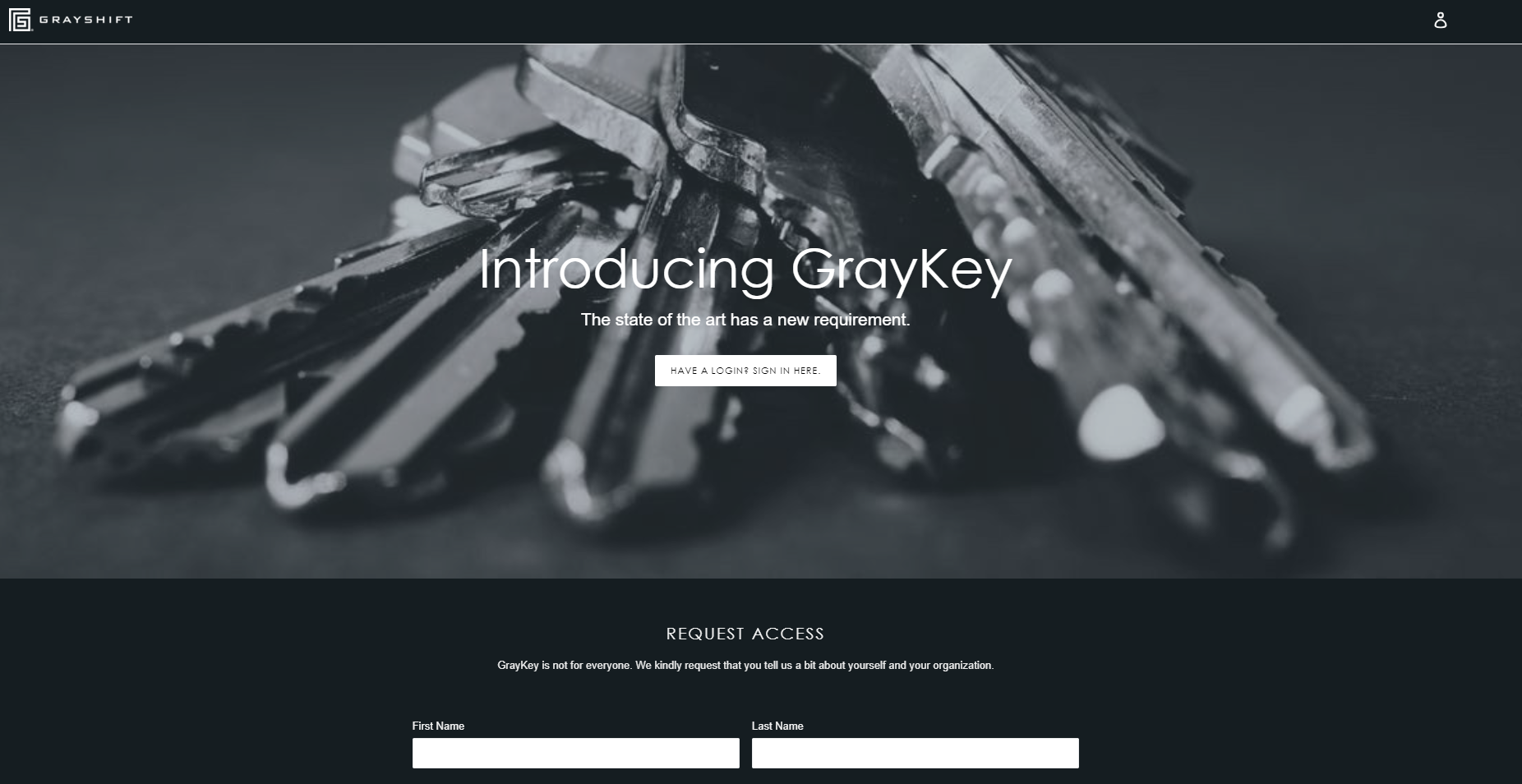 They mysterious landing page of GrayKey maker, Grayshift.